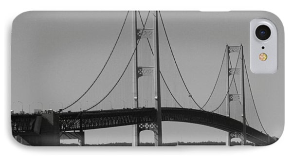 IPhone Case featuring the photograph Sailing Under Mighty Mac Black And White by Bill Woodstock