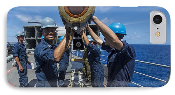 Sailors Load Rim-7 Sea Sparrow Missiles Phone Case by Stocktrek Images
