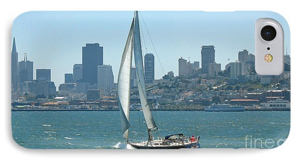 Sailors View Of San Francisco Skyline Phone Case by Connie Fox