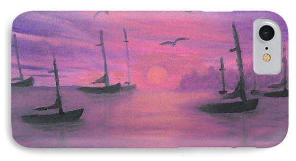 IPhone Case featuring the painting Sails At Dusk by Holly Martinson