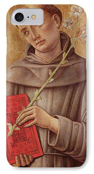 Saint Anthony Of Padua  IPhone Case by Bartolomeo Vivarini