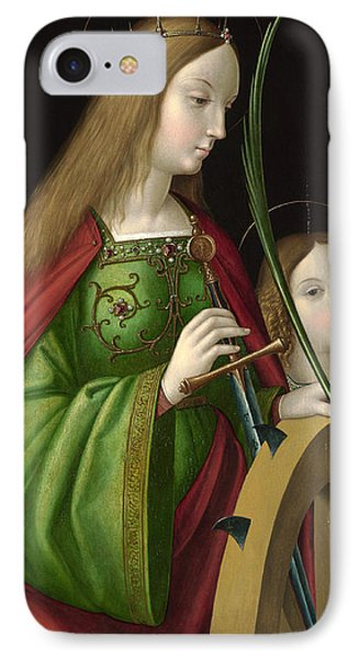 Saint Catherine Of Alexandria IPhone Case by Antonio Solario