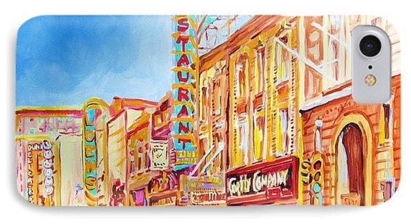 IPhone Case featuring the painting Saint Catherine Street Montreal by Carole Spandau