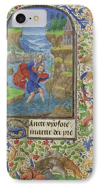 Saint Christopher Lieven Van Lathem, Flemish, About 1430 - IPhone Case