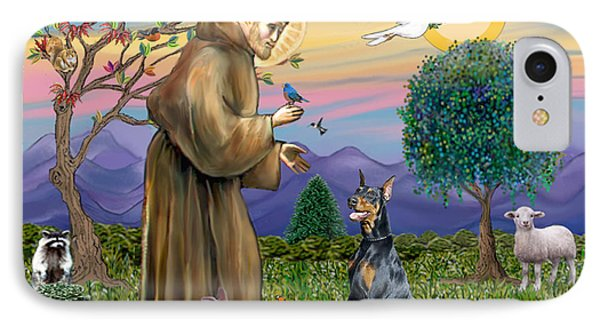 Saint Francis And Doberman Pinscher IPhone Case by Jean Fitzgerald
