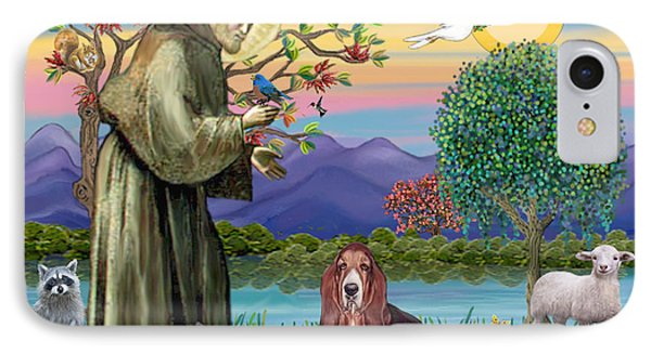 Saint Francis Blesses A Basset Hound IPhone Case by Jean Fitzgerald