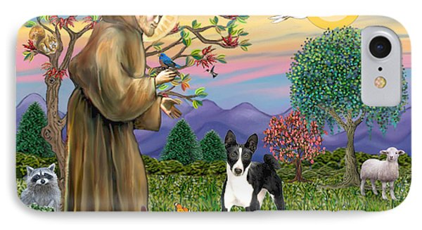 Saint Francis Blesses A Black And White Basenji IPhone Case