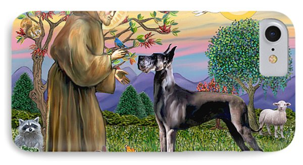 Saint Francis Blesses A Black Great Dane IPhone Case by Jean Fitzgerald