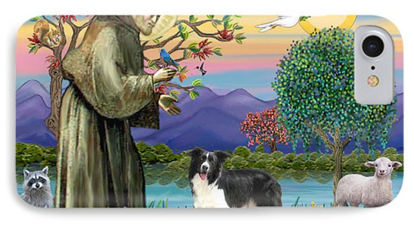 Saint Francis Blesses A Border Collie IPhone Case by Jean Fitzgerald