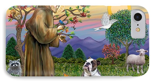 Saint Francis Blesses A Brown And White English Bulldog IPhone Case by Jean B Fitzgerald