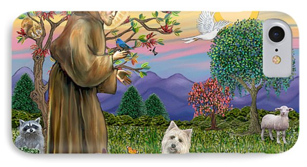 Saint Francis Blesses A Cairn Terrier IPhone Case by Jean B Fitzgerald