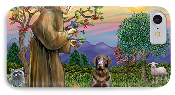 Saint Francis Blesses A Chocolate Labrador Retriever IPhone Case by Jean Fitzgerald