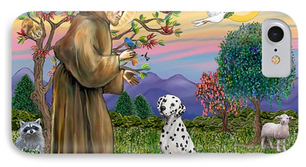 Saint Francis Blesses A Dalmatian IPhone Case by Jean Fitzgerald