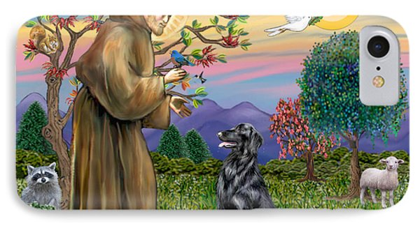 Saint Francis Blesses A Flat Coated Retriever IPhone Case