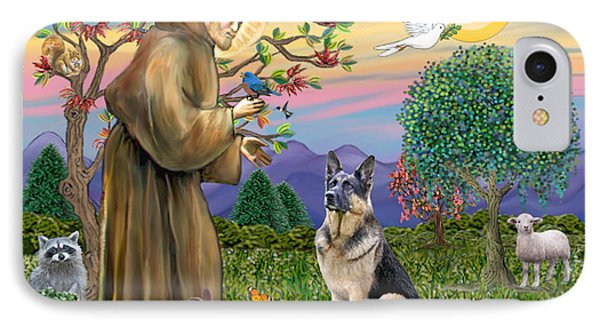 Saint Francis Blesses A German Shepherd IPhone Case by Jean Fitzgerald