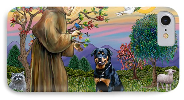 Saint Francis Blesses A Rottweiler IPhone Case by Jean Fitzgerald