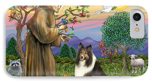 Saint Francis Blesses A Sable And White Collie IPhone Case by Jean Fitzgerald