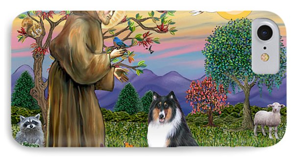 Saint Francis Blesses A Tri Color Collie IPhone Case by Jean B Fitzgerald