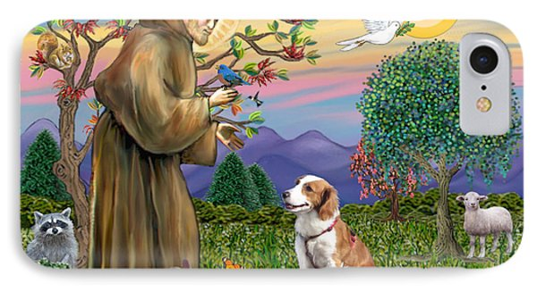 Saint Francis Blesses A Welsh Springer Spaniel IPhone Case by Jean Fitzgerald