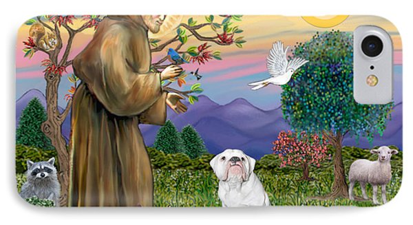 Saint Francis Blesses An English Bulldog IPhone Case by Jean Fitzgerald