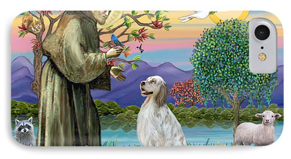 Saint Francis Blesses An English Setter IPhone Case by Jean B Fitzgerald