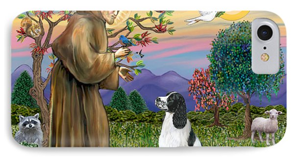 Saint Francis Blesses An English Springer Spaniel IPhone Case by Jean Fitzgerald