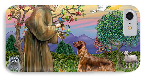 Saint Francis Blesses An Irish Setter IPhone Case by Jean Fitzgerald
