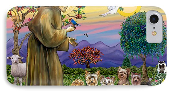Saint Francis Blesses Seven Yorkies IPhone Case by Jean Fitzgerald