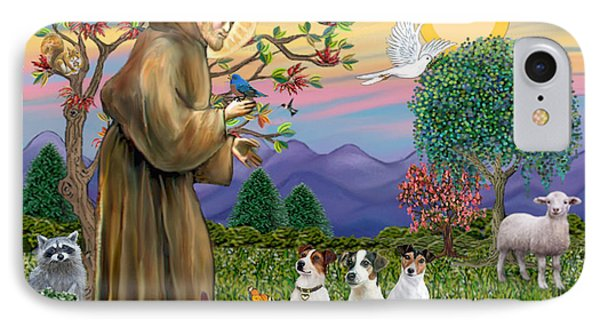 Saint Francis Blesses Three Jack Russell Terriers IPhone Case