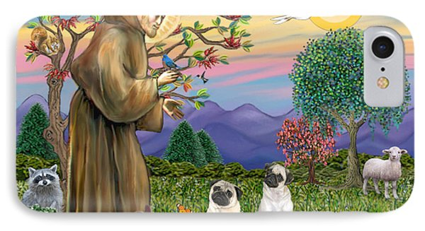 Saint Francis Blesses Two Fawn Pugs IPhone Case by Jean Fitzgerald