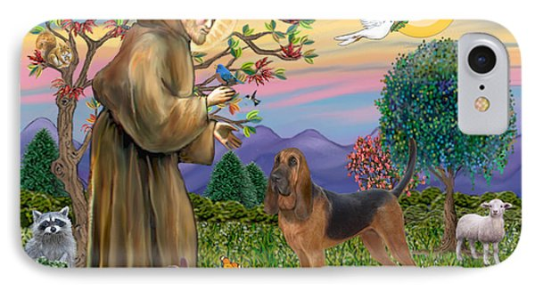 Saint Francis Blessing A Bloodhound IPhone Case by Jean Fitzgerald