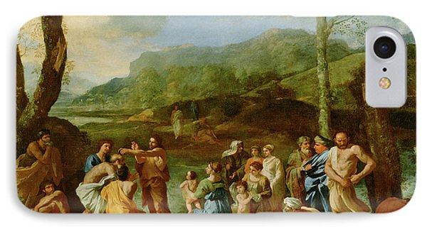 Saint John Baptizing In The River Jordan Nicolas Poussin IPhone Case
