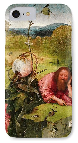 Saint John The Baptist In The Desert IPhone Case by Hieronymus Bosch