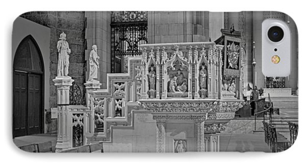 Saint John The Divine Cathedral Pulpit Bw IPhone Case by Susan Candelario