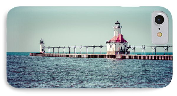 Saint Joseph Michigan Lighthouse Retro Picture  IPhone Case by Paul Velgos