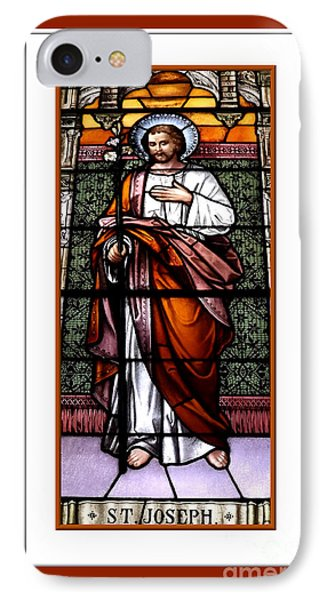 Saint Joseph  Stained Glass Window IPhone Case by Rose Santuci-Sofranko