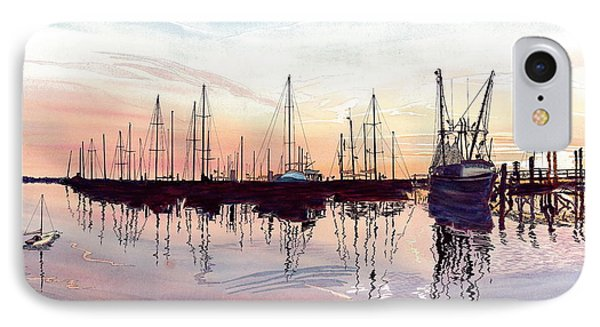 IPhone Case featuring the painting Saint Marys Marina   Shadows Light And Fire by Joel Deutsch