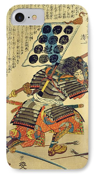 Sakuri Takichi Kiyokazu While Delivering A Blow With His Naginata Colour Woodblock Print IPhone Case by Utagawa Kuniyoshi