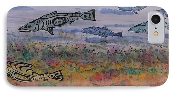 Salmon In The Stream Phone Case by Carolyn Doe