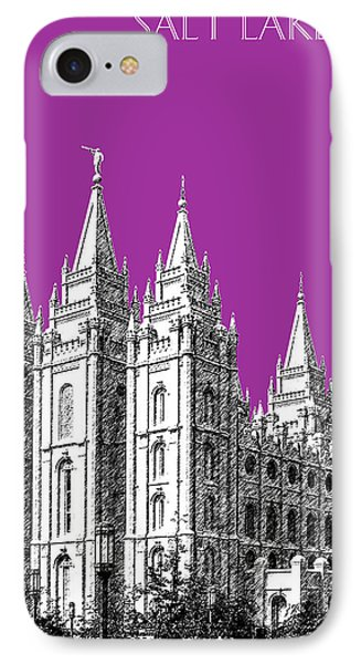 Salt Lake City Skyline Mormon Temple - Plum Phone Case by DB Artist