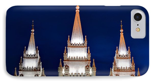 Salt Lake Lds Mormon Temple At Night IPhone Case by Gary Whitton