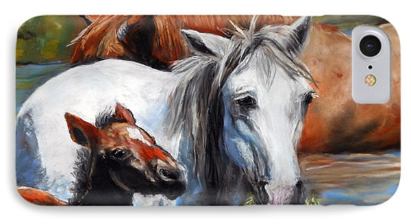 IPhone Case featuring the pastel Salt River Foal by Karen Kennedy Chatham