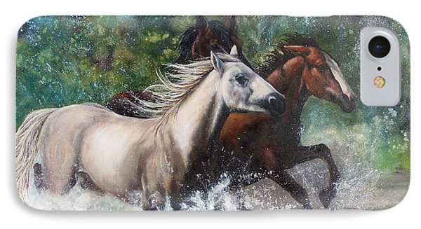 IPhone Case featuring the painting Salt River Horseplay by Karen Kennedy Chatham