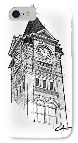 IPhone Case featuring the drawing Samford Hall by Calvin Durham