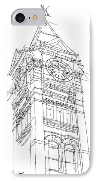 IPhone Case featuring the drawing Samford Hall Sketch by Calvin Durham