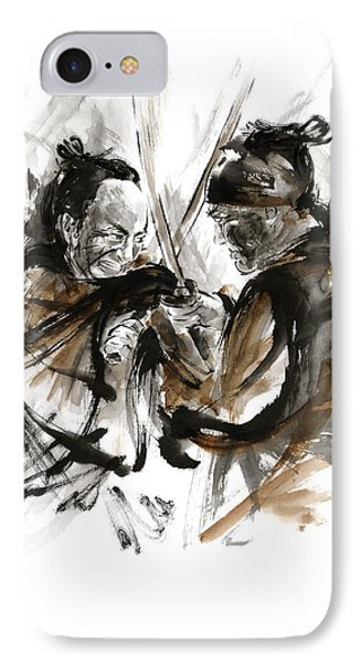 Samurai Fight. IPhone Case by Mariusz Szmerdt