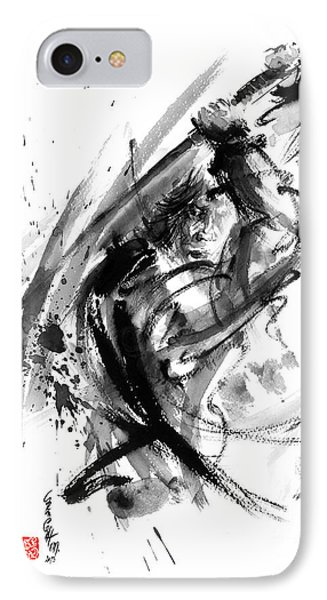 Samurai Ronin Wild Fury Bushi Bushido Martial Arts Sumi-e Original Ink Painting Artwork IPhone Case by Mariusz Szmerdt