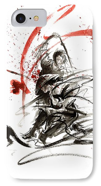 Samurai Sword Black White Red Strokes Bushido Katana Martial Arts Sumi-e Original Fight Ink Painting IPhone Case