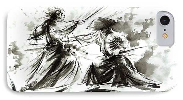 Samurai Sword Bushido Katana Martial Arts Budo Sumi-e Original Ink Painting Artwork IPhone Case
