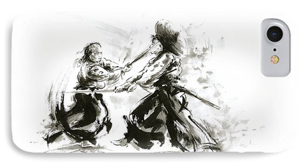 Samurai Sword Bushido Katana Martial Arts Budo Sumi-e Original Ink Sword Painting Artwork IPhone Case by Mariusz Szmerdt